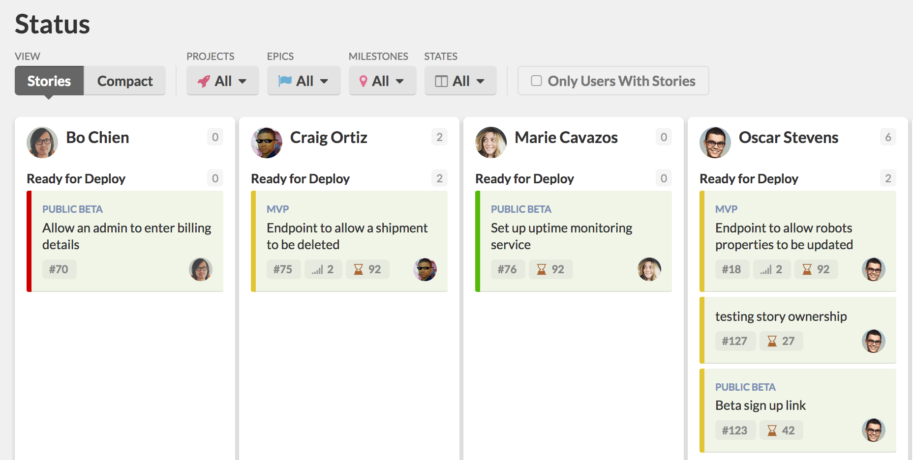 The Status Page in Stories View