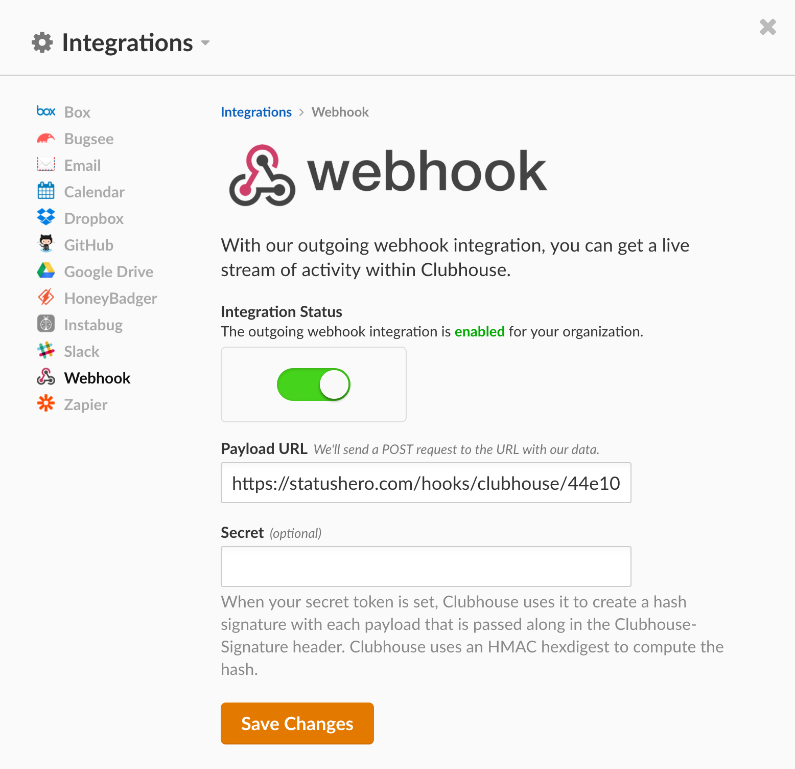 Webhooks Set Up in Clubhouse