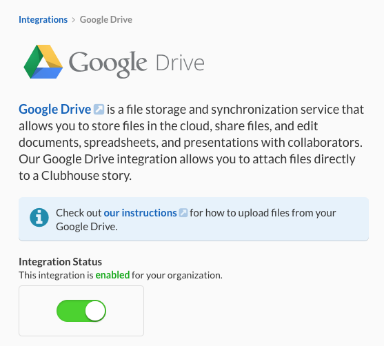 Clubhouse Google Drive Integration