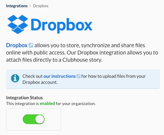 Clubhouse Dropbox Integration