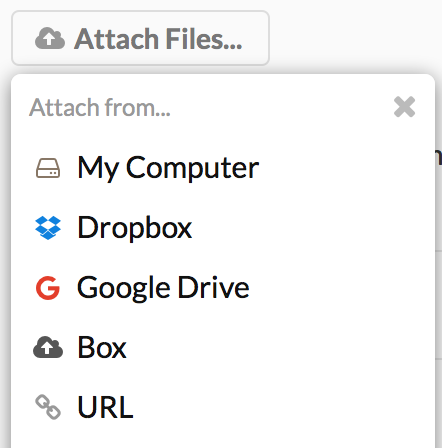 The Clubhouse Attach Files Button with Dropbox, Google Drive, Box, and URL